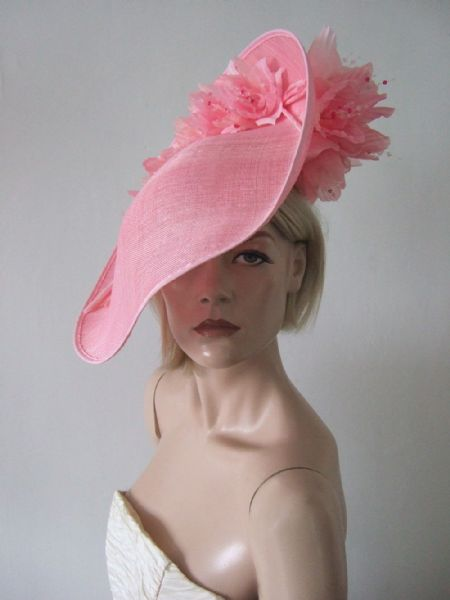 Pink  Slice Saucer Hat Headpiece Silk Roses Flowers Hat Royal Ascot Kentucky Derby